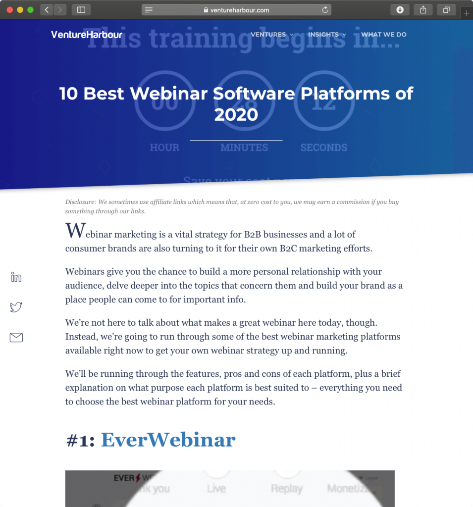 Venture Harbor offers a detailed analysis of the top 10 webinar platforms.