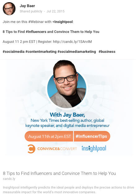 Invite your social media audience to register for your webinar with a simple, clear message, a link, a few hashtags, and a graphic or video.