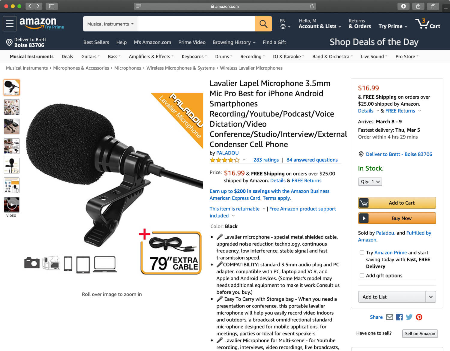 Paladou's lavalier lapel microphone is currently the one of the highest rated affordable microphones on Amazon.