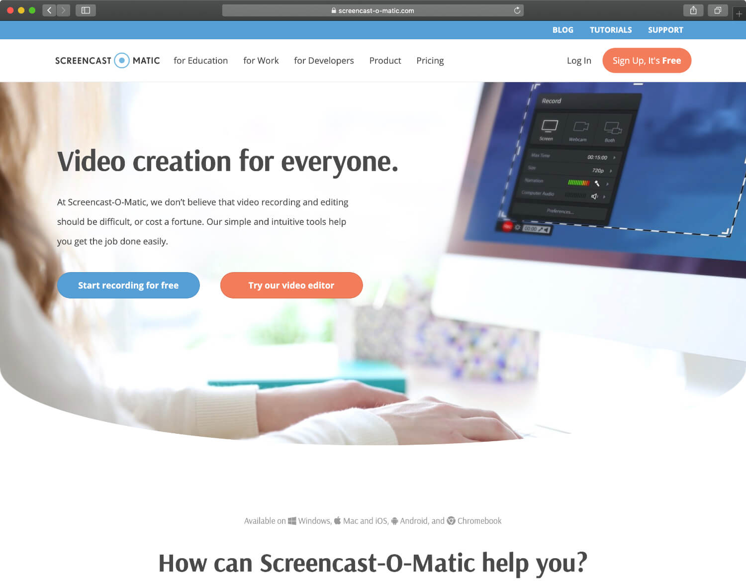 Screencast-O-Matic is especially popular for its voice-to-screen recording capabilities.